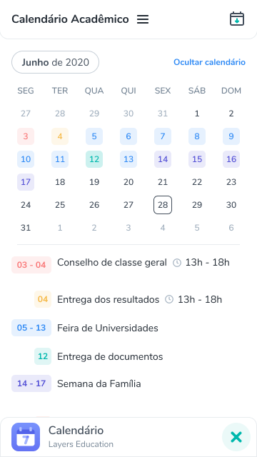 Calendario screenshot